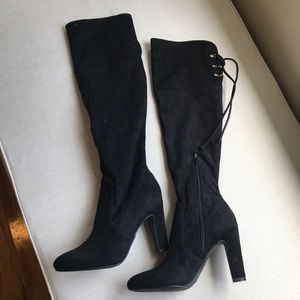 Black suede over the knee boots - 6.5